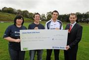 12 October 2011; Pictured at St Josephs GAA Club Ederney, in Fermanagh, were Dearbhaile McHugh, Sean Donnelly, Club Treasurer, St Josephs GAA Club Ederney, Sean Og O hAilpin, Ulster Bank GAA Force Ambassador Nigel Walsh, Regional  Director, Ulster Bank and Sean Donnelly, Club Sectretary St Josephs GAA Club Ederney. St Josephs GAA Club Ederney, in Fermanagh, received a major boost as Ulster Bank announced them as winners of 'Ulster Bank GAA Force' – a major club focused initiative supporting local GAA clubs by giving them the opportunity to refurbish and upgrade their facilities. Ulster Bank GAA Force was introduced this summer to coincide with Ulster Bank's sponsorship of the GAA Football All-Ireland Championships. St Josephs GAA Club was awarded a support package worth €22,000. Four runners up were also awarded support packages worth €5,000. St. Joseph's GAA Club, Drumkeen, Ederney, Co. Fermanagh. Picture credit: Oliver McVeigh / SPORTSFILE
