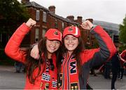 22 April 2017; Munster supporters Joan Harty, left, and Roisin Heffernan from Cashel, Co. Tipperary, ahead the European Rugby Champions Cup Semi-Final match between Munster and Saracens at the Aviva Stadium in Dublin. Photo by Diarmuid Greene/Sportsfile