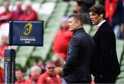 22 April 2017; BT Sport pundits Brian O'Driscoll, left, and Donnacha O'Callaghan ahead of the European Rugby Champions Cup Semi-Final match between Munster and Saracens at the Aviva Stadium in Dublin. Photo by Ramsey Cardy/Sportsfile