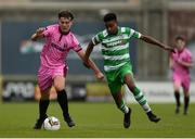 22 April 2017; Kyle Kennedy of Wexford FC in action against Eric Abulu of Shamrock Rovers during the SSE Airtricity U17 League match between Shamrock Rovers and Wexford FC at Tallaght Stadium in Tallaght, Dublin. Photo by Eóin Noonan/Sportsfile