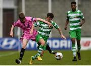 22 April 2017; Rhys Murphy of Shamrock Rovers in action against Caellum Travers Devlin of Wexford FC during the SSE Airtricity U17 League match between Shamrock Rovers and Wexford FC at Tallaght Stadium in Tallaght, Dublin. Photo by Eóin Noonan/Sportsfile