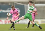 22 April 2017; Caellum Travers Devlin of Wexford FC in action against Conor Grant of Shamrock Rovers during the SSE Airtricity U17 League match between Shamrock Rovers and Wexford FC at Tallaght Stadium in Tallaght, Dublin. Photo by Eóin Noonan/Sportsfile