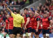 22 April 2017; Munster captain Peter O'Mahony, centre, speaks with referee Romain Poite during the European Rugby Champions Cup Semi-Final match between Munster and Saracens at the Aviva Stadium in Dublin. Photo by Diarmuid Greene / Sportsfile