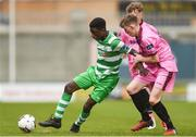 22 April 2017; Martns Olakanye of Shamrock Rovers in action against Caellum Travers Devlin of Wexford FC during the SSE Airtricity U17 League match between Shamrock Rovers and Wexford FC at Tallaght Stadium in Tallaght, Dublin. Photo by Eóin Noonan/Sportsfile
