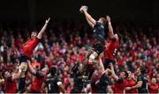 22 April 2017; George Kruis of Saracens wins a lineout ahead of Peter O'Mahony, left, and Billy Holland of Munster during the European Rugby Champions Cup Semi-Final match between Munster and Saracens at the Aviva Stadium in Dublin. Photo by Diarmuid Greene / Sportsfile