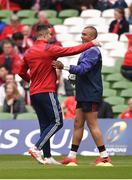22 April 2017; Conor Murray of Munster, left, with teammate Simon Zebo ahead of the European Rugby Champions Cup Semi-Final match between Munster and Saracens at the Aviva Stadium in Dublin. Photo by Diarmuid Greene/Sportsfile