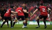 22 April 2017; Sean Maitland of Saracens finds his way blocked by Munster players, from left, Tyler Bleyendaal, Tommy O'Donnell and Niall Scannell during the European Rugby Champions Cup Semi-Final match between Munster and Saracens at the Aviva Stadium in Dublin. Photo by Brendan Moran/Sportsfile