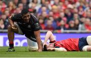 22 April 2017; Peter O'Mahony of Munster lies injured after a clash with Mako Vunipola of Saracens, left, during the European Rugby Champions Cup Semi-Final match between Munster and Saracens at the Aviva Stadium in Dublin. Photo by Brendan Moran/Sportsfile