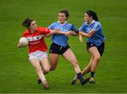 22 April 2017; Ciara O'Sullivan of Cork in action against Leah Caffrey and Olwen Carey, right, of Dublin during the Lidl Ladies Football National League Division 1 Semi-Final match between Cork and Dublin at Nowlan Park in Kilkenny. Photo by Ray McManus/Sportsfile