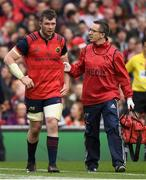 22 April 2017; Peter O'Mahony of Munster leaves the pitch for a HIA during the European Rugby Champions Cup Semi-Final match between Munster and Saracens at the Aviva Stadium in Dublin. Photo by Brendan Moran/Sportsfile