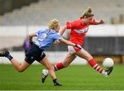 22 April 2017; Eimear Scally of Cork in action against Fiona Hudson of Dublin during the Lidl Ladies Football National League Division 1 Semi-Final match between Cork and Dublin at Nowlan Park in Kilkenny. Photo by Ray McManus/Sportsfile