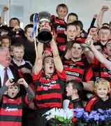 16 October 2011; Ballygunner captain Shane O'Sullivan lifts the cup. Waterford County Senior Hurling Championship Final, Ballygunner v Tallow, Walsh Park, Co. Waterford. Picture credit: Brian Lawless / SPORTSFILE