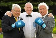 13 October 2011; Olympic boxing gold medalist Michael Carruth alongside Irish Boxing Champions Harry Perry, left, from Dublin, and Mick Dowling, right, from Dublin, who were honoured by Lucozade Sport and the Association of Sports Journalists in Ireland at a luncheon in the Radisson Hotel, Stillorgan, Dublin. Picture credit: Paul Mohan / SPORTSFILE