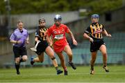 23 April 2017; Aisling Thompson of Cork in action against Katie Power, left, and Julianne Malone of Kilkenny  during the Littlewoods Ireland Camogie League Div 1 Final match between Cork and Kilkenny at Gaelic Grounds, in Limerick.  Photo by Ray McManus/Sportsfile