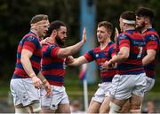 23 April 2017; Mick McGrath of Clontarf is congratulated by teammates after scoring his side's first try during the Ulster Bank League Division 1A semi-final match between Clontarf and Young Munster at Castle Avenue, Clontarf, in Dublin. Photo by Seb Daly/Sportsfile