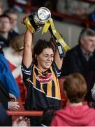 23 April 2017; Kilkenny captain Meighan Farrell lifts the cup after the Littlewoods Ireland Camogie League Division 1 Final match between Cork and Kilkenny at Gaelic Grounds in Limerick. Photo by Diarmuid Greene/Sportsfile