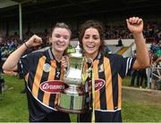 23 April 2017; Kilkenny's Michelle Teehan, left, and captain Meighan Farrell celebrate with the cup after the Littlewoods Ireland Camogie League Division 1 Final match between Cork and Kilkenny at Gaelic Grounds in Limerick. Photo by Diarmuid Greene/Sportsfile