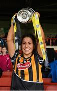 23 April 2017; Kilkenny captain Meighan Farrell celebrates with the cup after the Littlewoods Ireland Camogie League Div 1 Final match between Cork and Kilkenny at Gaelic Grounds, in Limerick.  Photo by Ray McManus/Sportsfile