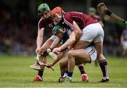 23 April 2017; Cathal Barrett of Tipperary in action against Niall Burke, left, and Conor Whelan of Galway during the Allianz Hurling League Division 1 Final match between Galway and Tipperary at the Gaelic Grounds in Limerick. Photo by Diarmuid Greene/Sportsfile