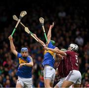 23 April 2017; Daithí de Búrca, 3, and Adrian Ó Tuathaig of Galway in action against John McGrath, left, and Noel McGrath of Tipperary during the Allianz Hurling League Division 1 Final match between Galway and Tipperary at Gaelic Grounds, in Limerick. Photo by Ray McManus/Sportsfile
