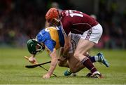 23 April 2017; Cathal Barrett of Tipperary in action against Conor Whelan of Galway during the Allianz Hurling League Division 1 Final match between Galway and Tipperary at the Gaelic Grounds in Limerick. Photo by Diarmuid Greene/Sportsfile