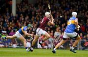 23 April 2017; Jason Flynn of Galway shoots past James Barry, 3 , and Cathal Barrett of Tipperary to score a goal early in second half during the Allianz Hurling League Division 1 Final match between Galway and Tipperary at Gaelic Grounds, in Limerick. Photo by Ray McManus/Sportsfile