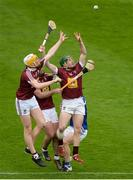 23 April 2017; Westmeath players, from right, Niall O'Brien, Derek McNicholas and Niall Mitchell contest possession against Cahir Healy of Laois during the Leinster GAA Hurling Senior Championship Qualifier Group Round 1 match between Laois and Westmeath at O'Moore Park, in Portlaoise, Co Laois. Photo by Piaras Ó Mídheach/Sportsfile