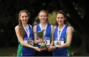 23 April 2017; Winners of the Senior Women's relay race, from left, Sinead Sweeney, Emma Mitchell and Rebecca Henderson, Queens University Belfast. Irish Life Health National Road Relays at Raheny Village, in Dublin. Photo by Tomás Greally/Sportsfile