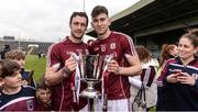 23 April 2017; Galway captain David Burke, left, and Jason Flynn celebrate with the cup after the Allianz Hurling League Division 1 Final match between Galway and Tipperary at the Gaelic Grounds in Limerick. Photo by Diarmuid Greene/Sportsfile
