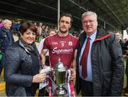23 April 2017; Supermac's founder and CEO Pat McDonagh and his wife Una with Galway captain David Burke after the Allianz Hurling League Division 1 Final match between Galway and Tipperary at Gaelic Grounds, in Limerick. Photo by Ray McManus/Sportsfile