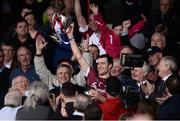 23 April 2017; President Michael D. Higgins, left, looks on as Galway captain David Burke lifts the cup after the Allianz Hurling League Division 1 Final match between Galway and Tipperary at the Gaelic Grounds in Limerick. Photo by Diarmuid Greene/Sportsfile