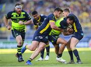 23 April 2017; Isa Nacewa of Leinster is tackled by Damien Penaud and David Strettle of ASM Clermont Auvergne during the European Rugby Champions Cup Semi-Final match between ASM Clermont Auvergne and Leinster at Matmut Stadium de Gerland in Lyon, France. Photo by Stephen McCarthy/Sportsfile