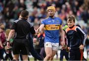23 April 2017; Pádraic Maher of Tipperary exchanges a handshake with referee Colm Lyons after the Allianz Hurling League Division 1 Final match between Galway and Tipperary at the Gaelic Grounds in Limerick. Photo by Diarmuid Greene/Sportsfile