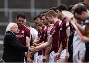 23 April 2017; President Michael D. Higgins exchanges a handshake with Joe Canning of Galway before the Allianz Hurling League Division 1 Final match between Galway and Tipperary at the Gaelic Grounds in Limerick. Photo by Diarmuid Greene/Sportsfile