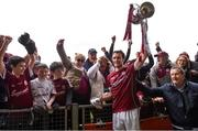 23 April 2017; Galway captain David Burke celebrates with supporters after the Allianz Hurling League Division 1 Final match between Galway and Tipperary at the Gaelic Grounds in Limerick. Photo by Diarmuid Greene/Sportsfile