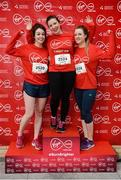 23 April 2017; Participants, from left, Katie Corcoran, from Trim, Co Meath, Caoimhe Brady, from Cavan Town, and Emma Everan, from Naas, Co Kildare, ahead of the Virgin Media Night Run at Spencer Dock Hotel, in Dublin. Photo by Cody Glenn/Sportsfile