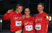 23 April 2017; Participants, from left, Inga Juranaite, from Lithuania, Carol Murphy, from Leixlip, Co Kildare, and Kristina Iljasoba, from Latvia, ahead of the Virgin Media Night Run at Spencer Dock Hotel, in Dublin. Photo by Eóin Noonan/Sportsfile