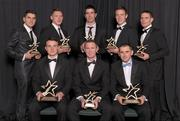 21 October 2011; The 2011 GAA GPA All Star Dublin Footballers of the Year, back row, from left, Bernard Brogan, Paul Flynn, Michael Darragh MacAuley, Kevin Nolan, Stephen Cluxton and Alan Brogan, front right, with the 2011 GAA GPA All Star Dublin Hurlers of the Year, Gary Maguire and Liam Rushe, front left. Picture credit: Paul Mohan / SPORTSFILE