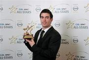 21 October 2011; Michael Darragh MacAuley, Dublin, with his GAA GPA All-Star Football award at the GAA GPA All-Star Awards 2011 sponsored by Opel. National Convention Centre, Dublin. Picture credit: Stephen McCarthy / SPORTSFILE