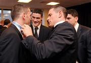 21 October 2011; Dublin footballer Alan Brogan has his bow tie adjusted by team-mate Stephen Cluxton, watched by Diarmuid Connolly and Bernard Brogan, at the GAA GPA All-Star Awards 2011 sponsored by Opel. National Convention Centre, Dublin. Picture credit: Ray McManus / SPORTSFILE