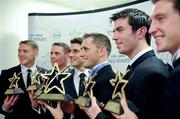 21 October 2011; Dublin footballers with their awards, from left, Paul Flynn, Stephen Cluxton, Bernard Brogan, GAA GPA All-Star Footballer of the Year Alan Brogan, Michael Darragh Macauley and Kevin Nolan at the GAA GPA All-Star Awards 2011 sponsored by Opell. National Convention Centre, Dublin. Picture credit: Ray McManus / SPORTSFILE