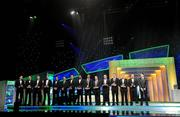 21 October 2011;The 2011 GAA GPA All-Star Football Team of the Year, from left, Stephen Cluxton, Dublin, Neil McGee, Donegal, Michael Foley, Kildare, Kevin Cassidy, Donegal, Karl Lacey, Donegal, Kevin Nolan, Dublin, Bryan Sheehan, Kerry, Michael Darragh Macauley, Dublin, Darran O'Sullivan, Kerry, Alan Brogan, Dublin, Paul Flynn, Dublin, Colm Cooper, Kerry, Andy Moran, Mayo and Bernard Brogan, Dublin, with their awards at the GAA GPA All-Star Awards 2011 sponsored by Opel. National Convention Centre, Dublin. Picture credit: Brendan Moran / SPORTSFILE