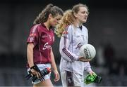 23 April 2017; Áine Seoighe, left, and Dearbhla Gower of Galway leave the pitch after the Lidl Ladies Football National League Division 1 semi-final mach between Donegal and Galway at Markievicz Park, in Sligo. Photo by Brendan Moran/Sportsfile
