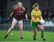 23 April 2017; Ciara Hegarty of Donegal in action against Ailbhe Davoren of Galway during the Lidl Ladies Football National League Division 1 semi-final mach between Donegal and Galway at Markievicz Park, in Sligo. Photo by Brendan Moran/Sportsfile