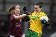 23 April 2017; Nicole McLaughlin of Donegal in action against Caitriona Cormican of Galway during the Lidl Ladies Football National League Division 1 semi-final mach between Donegal and Galway at Markievicz Park, in Sligo. Photo by Brendan Moran/Sportsfile