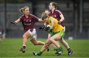 23 April 2017; Ciara Hegarty of Donegal in action against Sinead Burke, left, and Caitriona Cormican of Galway during the Lidl Ladies Football National League Division 1 semi-final mach between Donegal and Galway at Markievicz Park, in Sligo. Photo by Brendan Moran/Sportsfile
