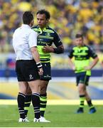 23 April 2017; Isa Nacewa of Leinster speaks to referee Nigel Owens during the European Rugby Champions Cup Semi-Final match between ASM Clermont Auvergne and Leinster at Matmut Stadium de Gerland in Lyon, France. Photo by Stephen McCarthy/Sportsfile