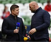 22 April 2017; BT Sport pundits Brian O'Driscoll, left, and Lawrence Dallaglio  during the European Rugby Champions Cup Semi-Final match between Munster and Saracens at the Aviva Stadium in Dublin. Photo by Ramsey Cardy/Sportsfile