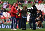 22 April 2017; Conor Murray of Munster is interviewed by BT Sport presenter Sarra Elgan during the European Rugby Champions Cup Semi-Final match between Munster and Saracens at the Aviva Stadium in Dublin. Photo by Ramsey Cardy/Sportsfile