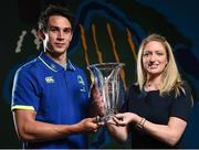 24 April 2017; Joey Carbery of Leinster is presented with the Bank of Ireland Player of the Month award for February and March 2017 by Rachael Dandy, Business Development Manager, Bank of Ireland, at Leinster Rugby, Newstead Building A, UCD in Belfield, Dublin. Photo by Seb Daly/Sportsfile